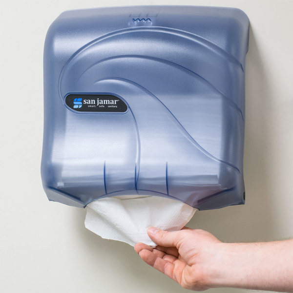 San Jamar T1759TBL Oceans Ultrafold C-Fold / Multifold Towel Dispenser - Arctic Blue Main Image 11