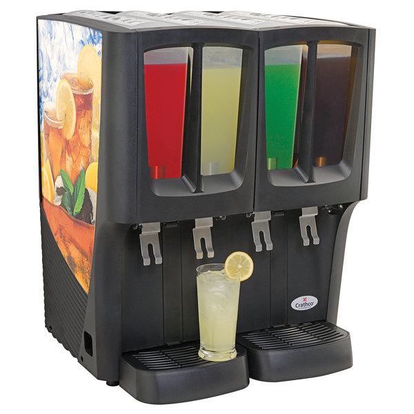 Crathco C-4D-16 G-Cool Quadruple 2.4 Gallon Bowl Premix Cold Beverage Dispenser with Iced Tea Decal Main Image 1