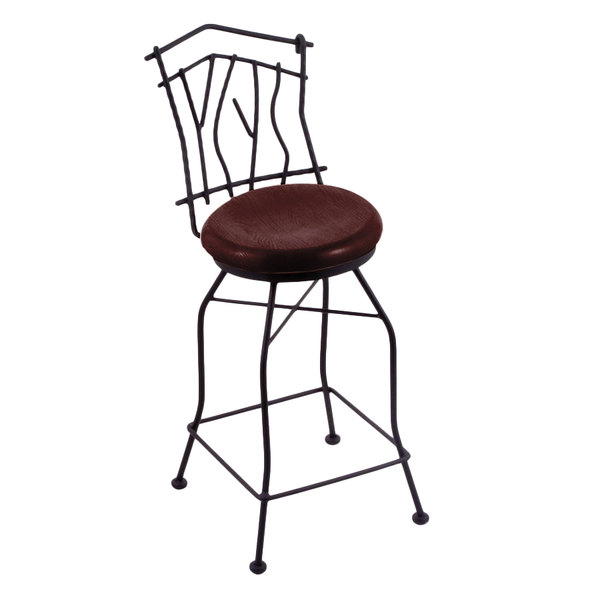 Pleasing Holland Bar Stool 301025Bwdcoak Black Wrinkle Steel Counter Height Swivel Stool With Back And Dark Cherry Oak Wood Seat Unemploymentrelief Wooden Chair Designs For Living Room Unemploymentrelieforg