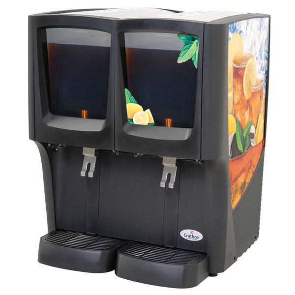 Crathco C-2D-16 G-Cool Double 5 Gallon Bowl Premix Cold Beverage Dispenser with Iced Tea Decal Main Image 1