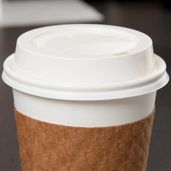 Choice 10, 12, 16, and 20 oz. White Hot Paper Cup Travel Lid - 100/Pack