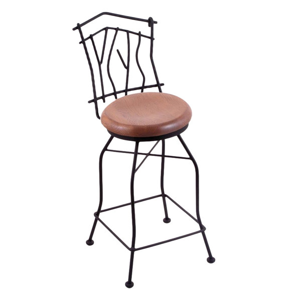 Surprising Holland Bar Stool 301025Bwmedoak Black Wrinkle Steel Counter Height Swivel Stool With Back And Medium Oak Wood Seat Pabps2019 Chair Design Images Pabps2019Com