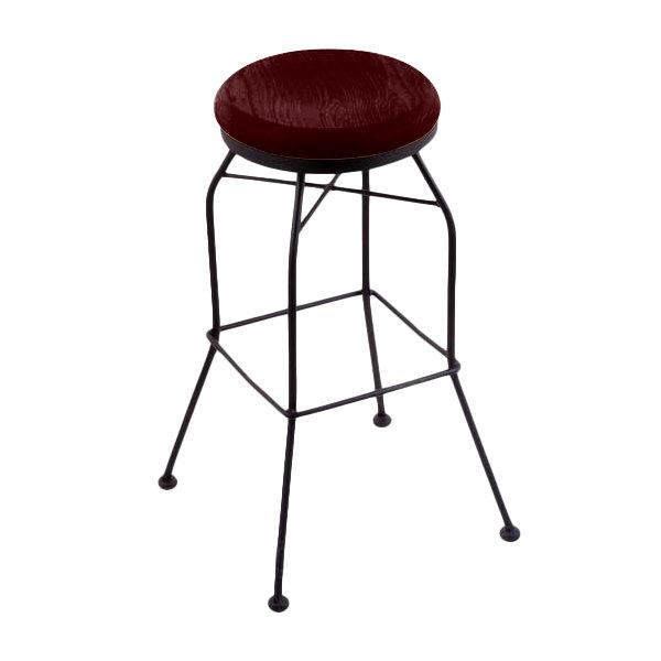 Fabulous Holland Bar Stool 302030Bwdcoak Black Wrinkle Steel Bar Height Swivel Stool With Dark Cherry Oak Wood Seat Lamtechconsult Wood Chair Design Ideas Lamtechconsultcom