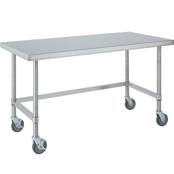 """14 Gauge Metro MWT307US 30"""" x 72"""" HD Super Open Base Stainless Steel Mobile Work Table"""