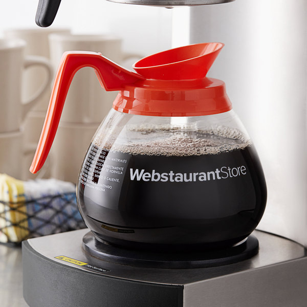 WebstaurantStore Logo 64 oz. Glass Coffee Decanter with Orange Handle by Avantco Equipment Main Image 2