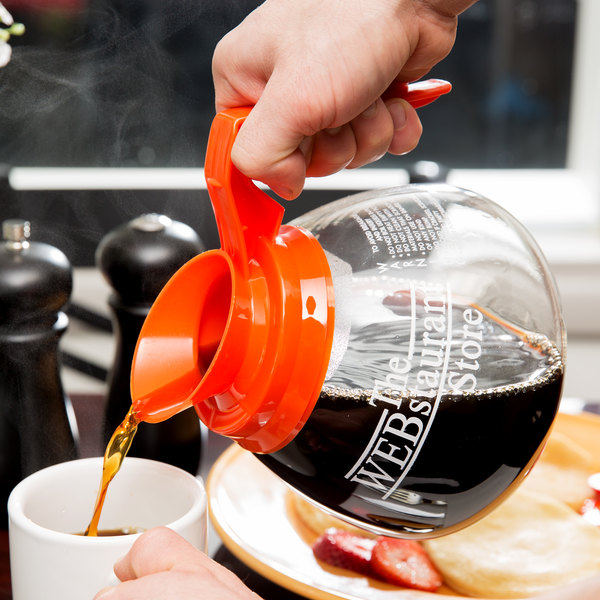 WebstaurantStore Logo 64 oz. Glass Coffee Decanter with Orange Handle