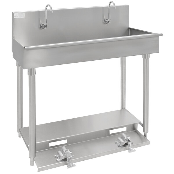 """Advance Tabco 19-18-40FV 16-Gauge Multi-Station Hand Sink with 8"""" Deep Bowl and 2 Toe Operated Faucets - 40"""" x 17 1/2"""" Main Image 1"""