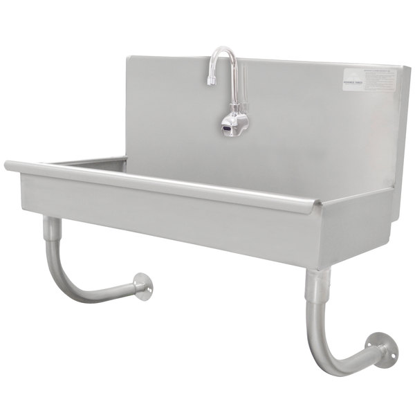 "Advance Tabco 19-18-1-EFADA 16-Gauge ADA Single-Station Hand Sink with 5"" Deep Bowl and 1 Electronic Faucet - 40"" x 17 1/2"" Main Image 1"
