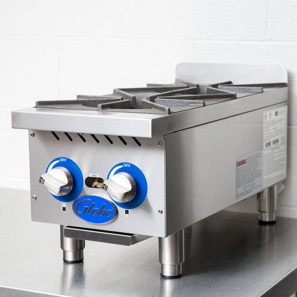 "Globe GHP12G 12"" Countertop Gas Hot Plate - 44,000 BTU"