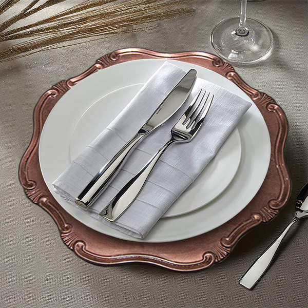"""The Jay Companies 1270465 13"""" Rose Gold Baroque Round Plastic Charger Plate"""