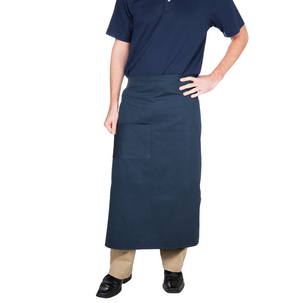 "Choice Navy Blue Bistro Apron with Pocket - 34""L x 30""W"