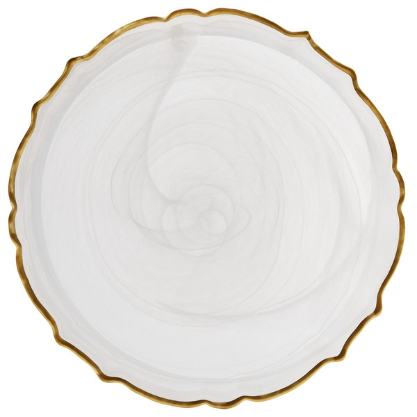 """The Jay Companies 1470406 13"""" Round White Scalloped Edge Alabaster Glass Charger Plate with Gold Rim"""