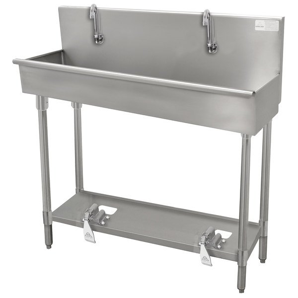 """Advance Tabco 19-18-100FV 16-Gauge Multi-Station Hand Sink with 8"""" Deep Bowl and 5 Toe Operated Faucets - 100"""" x 17 1/2"""" Main Image 1"""