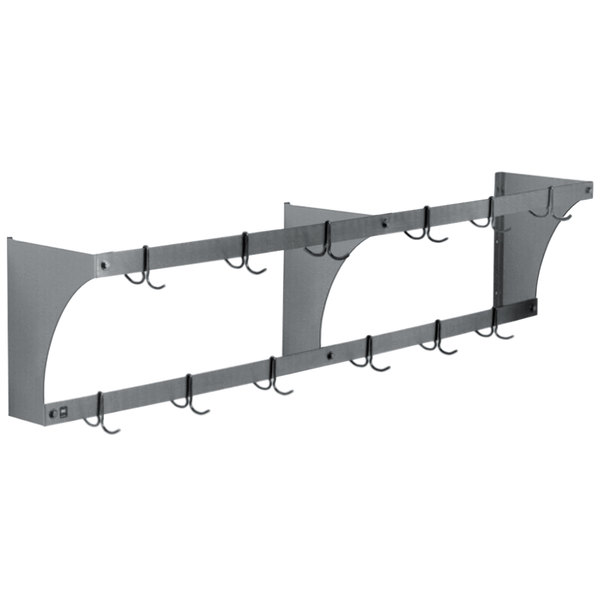 """Eagle Group WM96APR 96"""" Aluminum Wall Mounted Double Line Pot Rack with 16 Double Prong Hooks Main Image 1"""