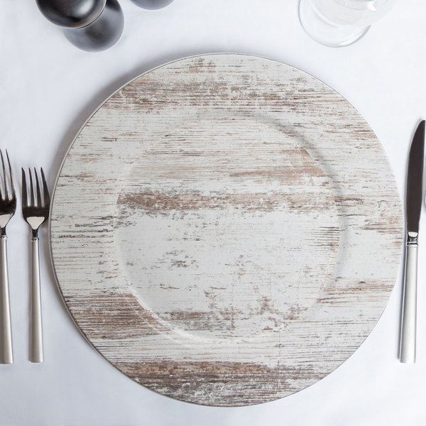 """The Jay Companies 1270506 13"""" Round Birchwood Faux Wood Melamine Charger Plate"""