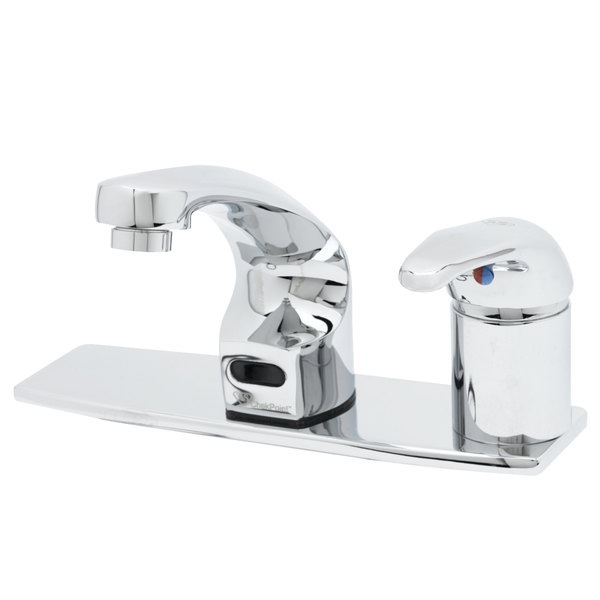 """T&S EC-3102-SMT8 Deck Mounted ChekPoint Electronic Hands Free Faucet with Single Inlet, 8"""" Center Deck Plate, 5 3/8"""" Cast Spout, 2.2 GPM Aerator, Above Deck Mixing Valve, and Supply Lines"""