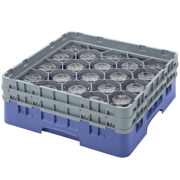 "Cambro 20S434168 Camrack 5 1/4"" High Customizable Blue 20 Compartment Glass Rack"