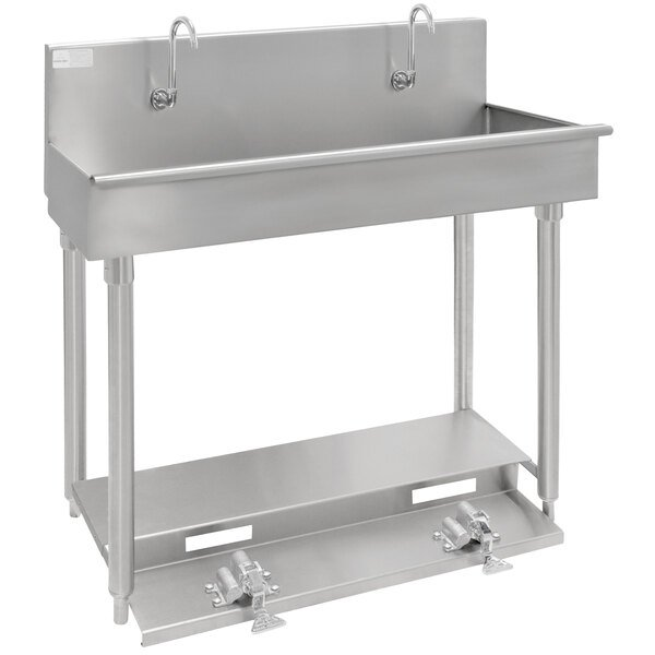 "Advance Tabco 19-18-60FV 16-Gauge Multi-Station Hand Sink with 8"" Deep Bowl and 3 Toe Operated Faucets - 60"" x 17 1/2"" Main Image 1"