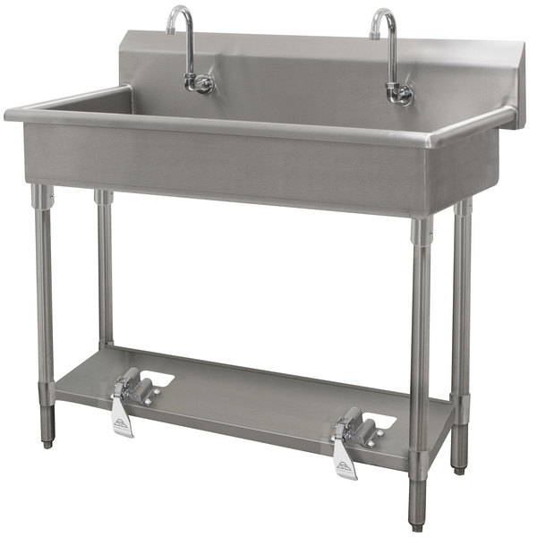 """Advance Tabco FC-WM-120FV 16-Gauge Multi-Station Hand Sink with 8"""" Deep Bowl and 6 Toe Operated Faucets - 120"""" x 19 3/4"""" Main Image 1"""