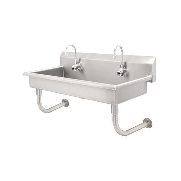 """Advance Tabco FC-WM-120EFADA 16-Gauge ADA Multi-Station Hand Sink with 6"""" Deep Bowl and 6 Electronic Faucets - 120"""" x 19 3/4"""" Main Image 1"""