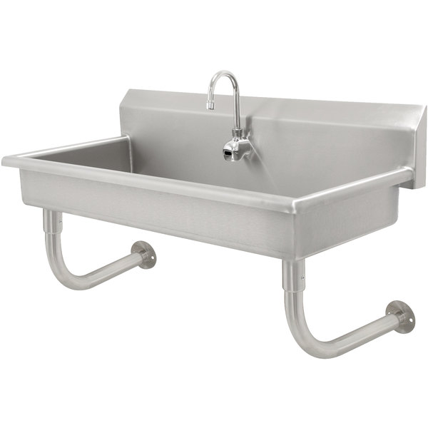 """Advance Tabco FC-WM-1EFADA 16-Gauge ADA Multi-Station Hand Sink with 5"""" Deep Bowl and Electronic Faucet - 40"""" x 19 3/4"""" Main Image 1"""