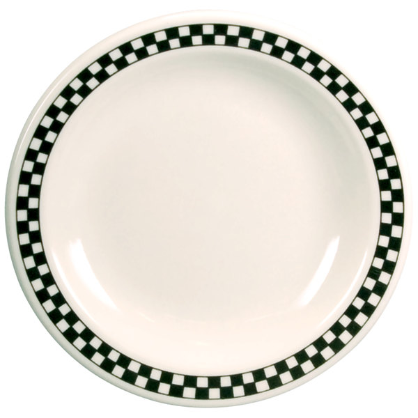 "Homer Laughlin Black Checkers 7 1/4"" Creamy White / Off White China Plate - 36/Case"