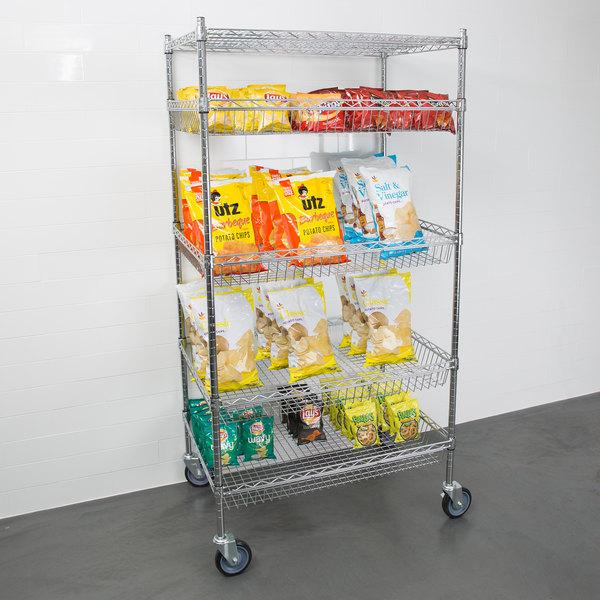 "Regency NSF Chrome 4 Basket and 1 Shelf Kit - 24"" x 36"" x 69"" Main Image 3"