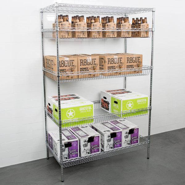 "Regency NSF Chrome 4 Basket and 1 Shelf Kit - 24"" x 48"" x 74"" Main Image 3"