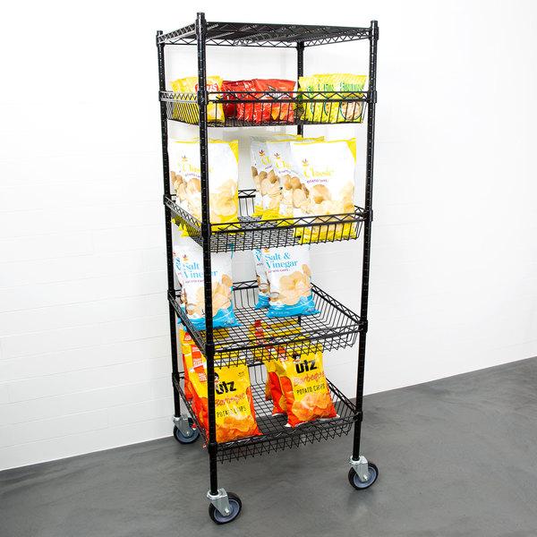 "Regency NSF Black Epoxy 4 Basket and 1 Shelf Kit - 24"" x 24"" x 69"" Main Image 3"