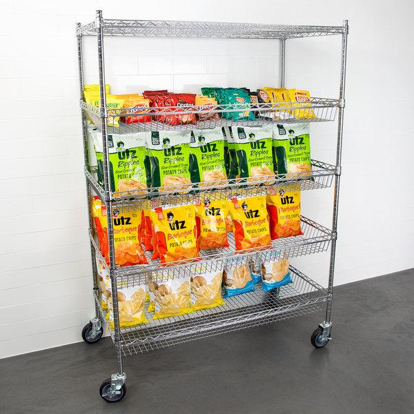 "Regency NSF Chrome 4 Basket and 1 Shelf Kit - 24"" x 48"" x 69"" Main Image 3"