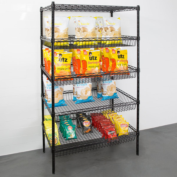"Regency NSF Black Epoxy 4 Basket and 1 Shelf Kit - 24"" x 36"" x 74"" Main Image 3"
