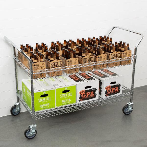 "Regency Chrome Two Basket Utility Cart - 24"" x 48"" x 36"" Main Image 3"