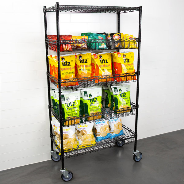 Regency NSF Black Epoxy 4 Basket and 1 Shelf Kit - 18