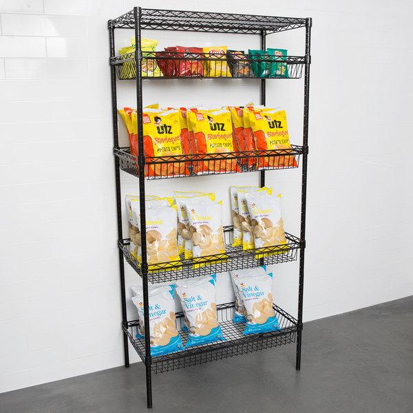 "Regency NSF Black Epoxy 4 Basket and 1 Shelf Kit - 18"" x 36"" x 74"" Main Image 3"