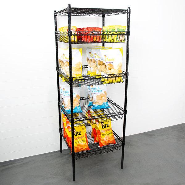 "Regency NSF Black Epoxy 4 Basket and 1 Shelf Kit - 24"" x 24"" x 74"" Main Image 3"