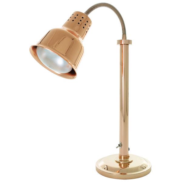 Hanson Heat Lamps SLM/600/ST/BCOP Single Bulb Flexible Freestanding Streamlined Heat Lamp with Bright Copper Finish - 115/230V Main Image 1