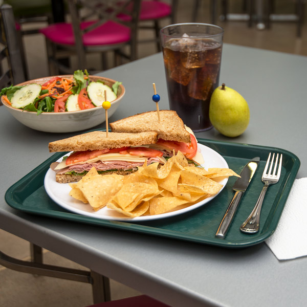 """Carlisle CT101408 Customizable Cafe 10"""" x 14"""" Forest Green Standard Plastic Fast Food Tray - 24/Case"""