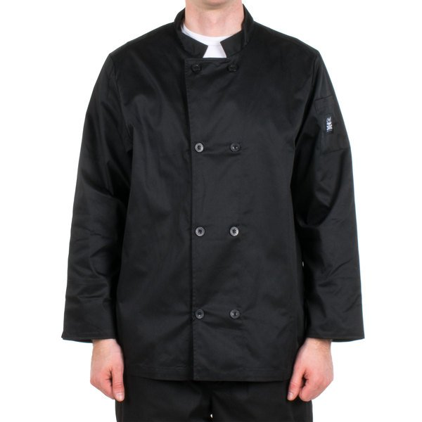 Chef Revival Bronze J061BK-3X Size 56 (3X) Black Customizable Double Breasted Chef Coat - Poly-Cotton