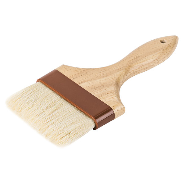 Boar Bristle Pastry Brush with Lacquered Hardwood Handle BBQ Sauce Marinade Brush Professional Pastry Brushes 1-Inch Round Basting Brush