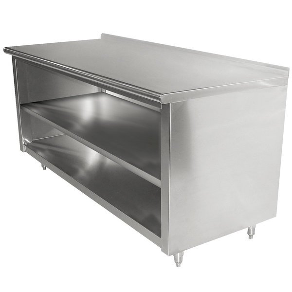"""Advance Tabco EF-SS-306M 30"""" x 72"""" 14 Gauge Open Front Cabinet Base Work Table with Fixed Mid Shelf and 1 1/2"""" Backsplash"""