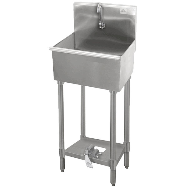 """Advance Tabco WSS-16-25FV 16-Gauge Service Sink with 12"""" Deep Bowl and Toe-Push Faucet - 22"""" x 19 1/2"""" Main Image 1"""