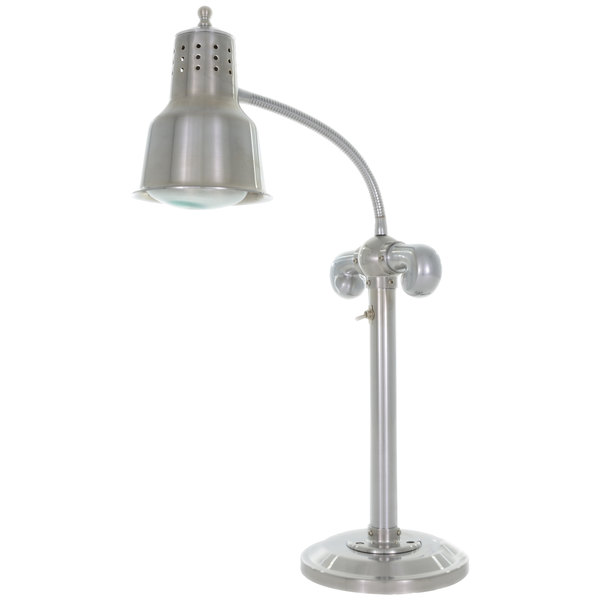 """Hanson Heat Lamps SLM/RB9/SOL/SS Single Bulb Flexible Freestanding Heat Lamp with 9"""" Solid Round Base and Stainless Steel Finish - 115/230V Main Image 1"""