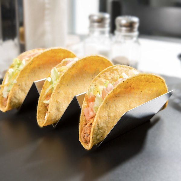 "Stainless Steel Taco Holder with 2 or 3 Compartments - 4"" x 8"" x 2"""