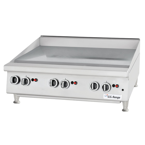 "U.S. Range UTGG24-GT24M Natural Gas 24"" Heavy-Duty Countertop Griddle with Thermostatic Controls - 56,000 BTU"