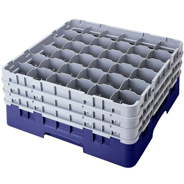"Cambro 36S1114186 Navy Blue Camrack Customizable 36 Compartment 11 3/4"" Glass Rack"