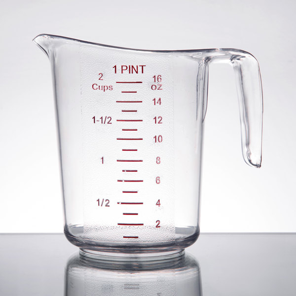 choice 1 pint clear plastic measuring cup with gradations