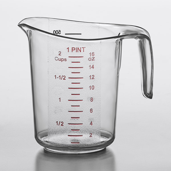Choice 1 Pint (2 Cups) Clear Plastic Measuring Cup with Gradations