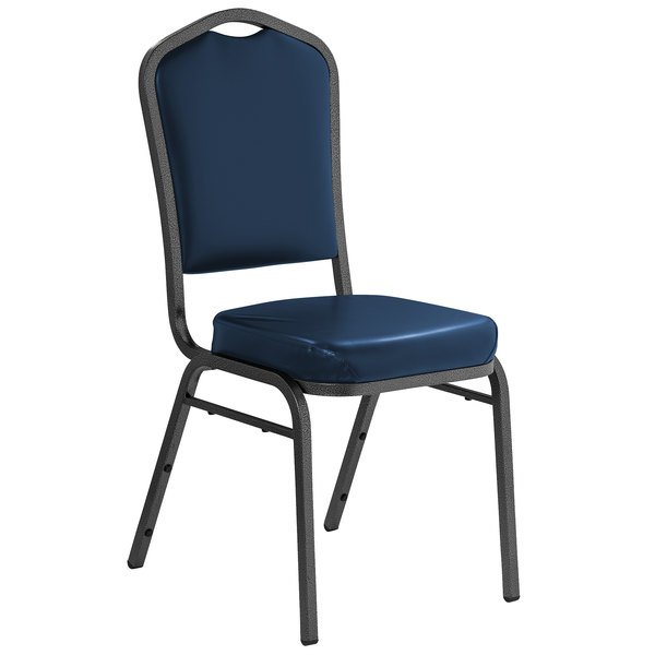 """Multiples of 40 Chairs National Public Seating 9304-SV Midnight Blue Vinyl Stackable Chair with 2"""" Padded Seat"""