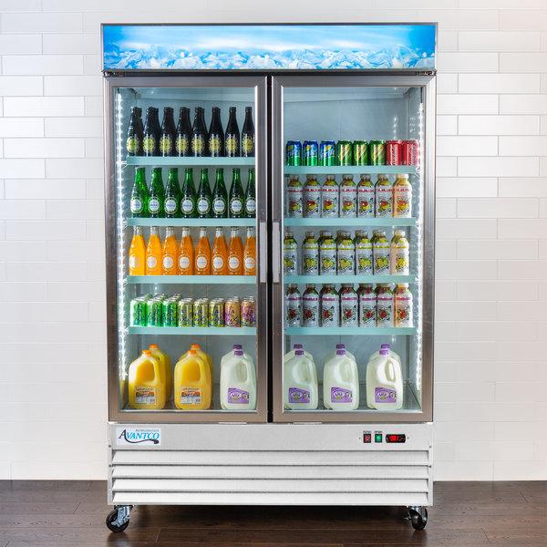 "Avantco GDC-49-HC 53"" White Swing Glass Door Merchandiser Refrigerator with LED Lighting Main Image 6"