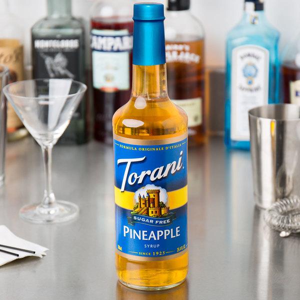 Torani 750 mL Sugar Free Pineapple Flavoring Syrup Main Image 3